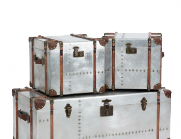 Aerospace set of 3 tarnished metal trunks by Alexander and Pearl