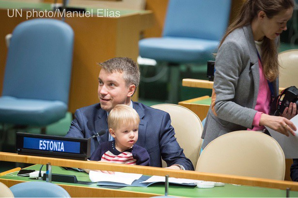 Estonia's UN Delegate Showed us Real Fatherhood when he brought his Son to UN General Assembly Meeting