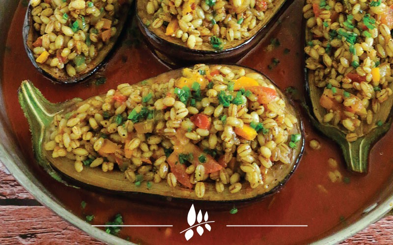 Stuffed Eggplant  With Hulled Grains