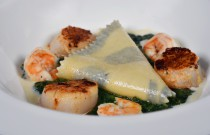 """Sea Scallops and Prawns Ravioli Molokhia"" by Cairo Marriott Hotel's Chef Philippe"