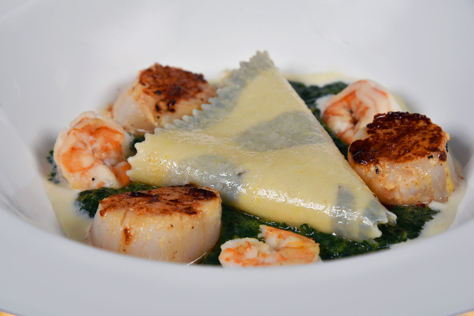 """Sea Scallops and Prawns Ravioli Molokhia"" by Cairo Marriott Hotel's Chef Philippe"