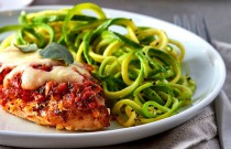 Could it get any Yummier? Chicken Parmesan over Zucchini Noodles!
