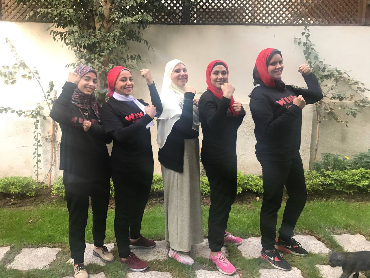 Wen-Do Trainers from Left to Right: Alaa, Maysoun, Manal, Yasmin, Amany